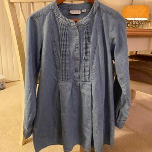 Joan Rivers Tunic Denim Chambray Pleated Top 2